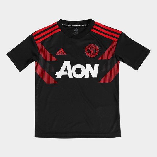 e7db0ff195 Camisa Manchester United Infantil Pré-Jogo Adidas - Preto e Vermelho ...