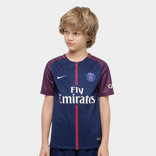 8158652a3 Camisa Paris Saint Germain Juvenil Home 17 18 s nº Torcedor Nike - Azul