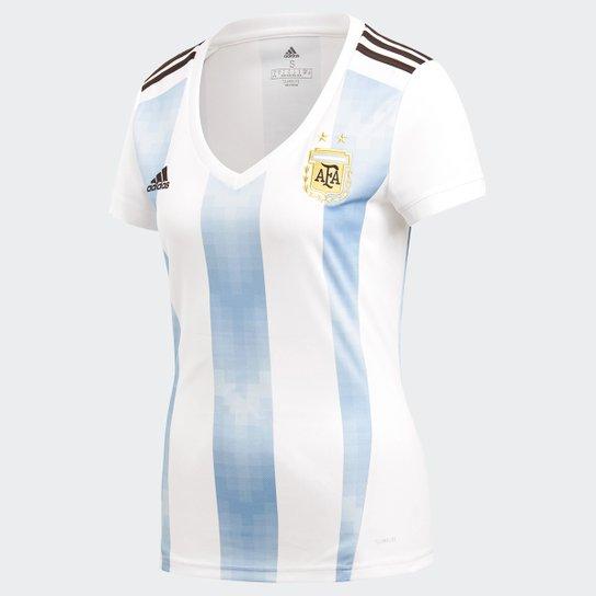 Camisa Seleção Argentina Home 2018 s/n° Torcedor Adidas Feminina - Branco e  Azul Claro