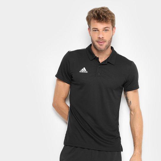 bb8f6fb5 Camisa Polo Adidas Core 18 Masculina - Preto e Branco   Allianz ...