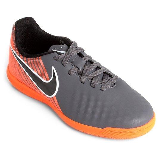 1ee7373192 Chuteira Futsal Nike Magista Obra 2 Club Infantil - Cinza+Preto