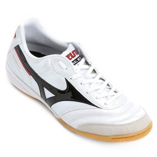 Chuteira Futsal Mizuno Morelia Elite IN 2 - Branco e Preto - Compre ... 7ca43e12a4feb
