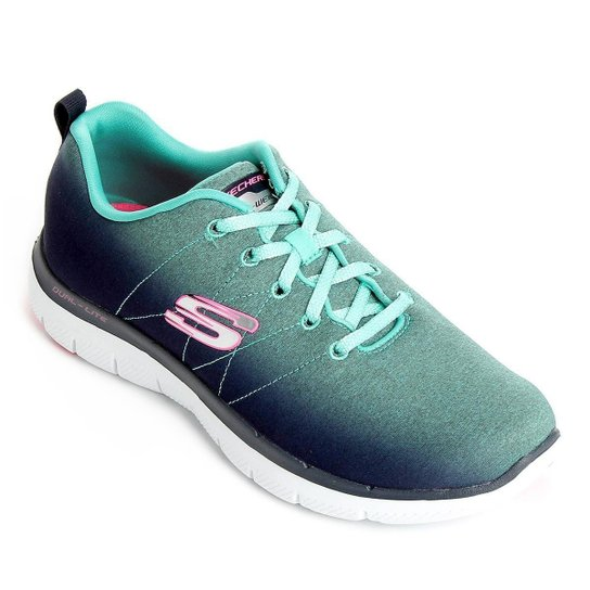 013fc523551 Tênis Skechers Flex Appeal 2.0 Bright Side Feminino - Azul e Verde ...