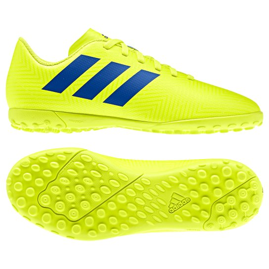 2b9d8b901e Chuteira Society Infantil Adidas Nemeziz 18 4 TF - Amarelo e Azul ...
