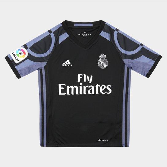 10490e8ab5365 Camisa Real Madrid Infantil Third 16 17 s nº Torcedor Adidas - Preto ...