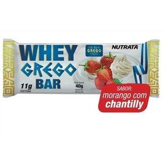 Barra Whey Grego Bar - 1 Unidade de 40g Morango com Chantilly - Nutrata