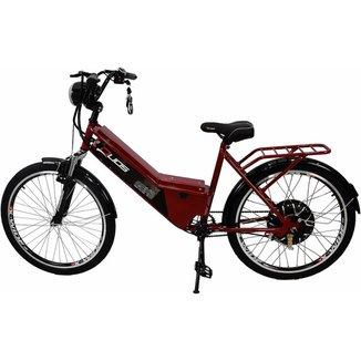 Bicicleta Elétrica com Bateria de Lítio 48V 13Ah Confort Vermelho Cereja