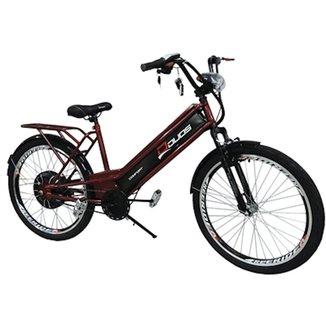 Bicicleta Elétrica Confort 800W 48V 15Ah Vermelho Cereja