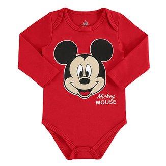 Body Bebê Disney Mickey Mouse Manga Longa Suedine Masculino