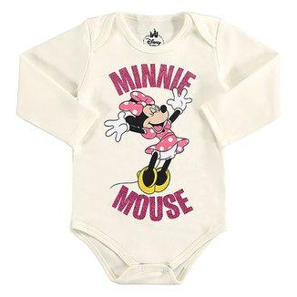 Body Bebê Disney Minnie Mouse Manga Longa Suedine Masculino
