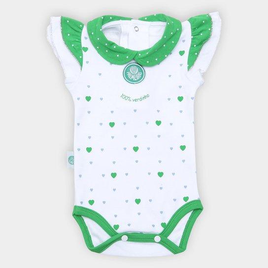 Body Bebê Palmeiras Cotton Coração - Verde+Branco