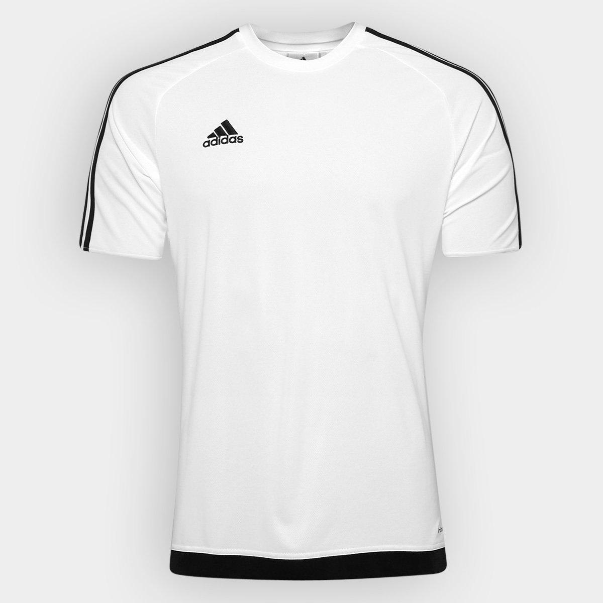 1045eb72c59fc Camisa Adidas Estro 15 Masculina - Branco e Preto - Compre Agora ...