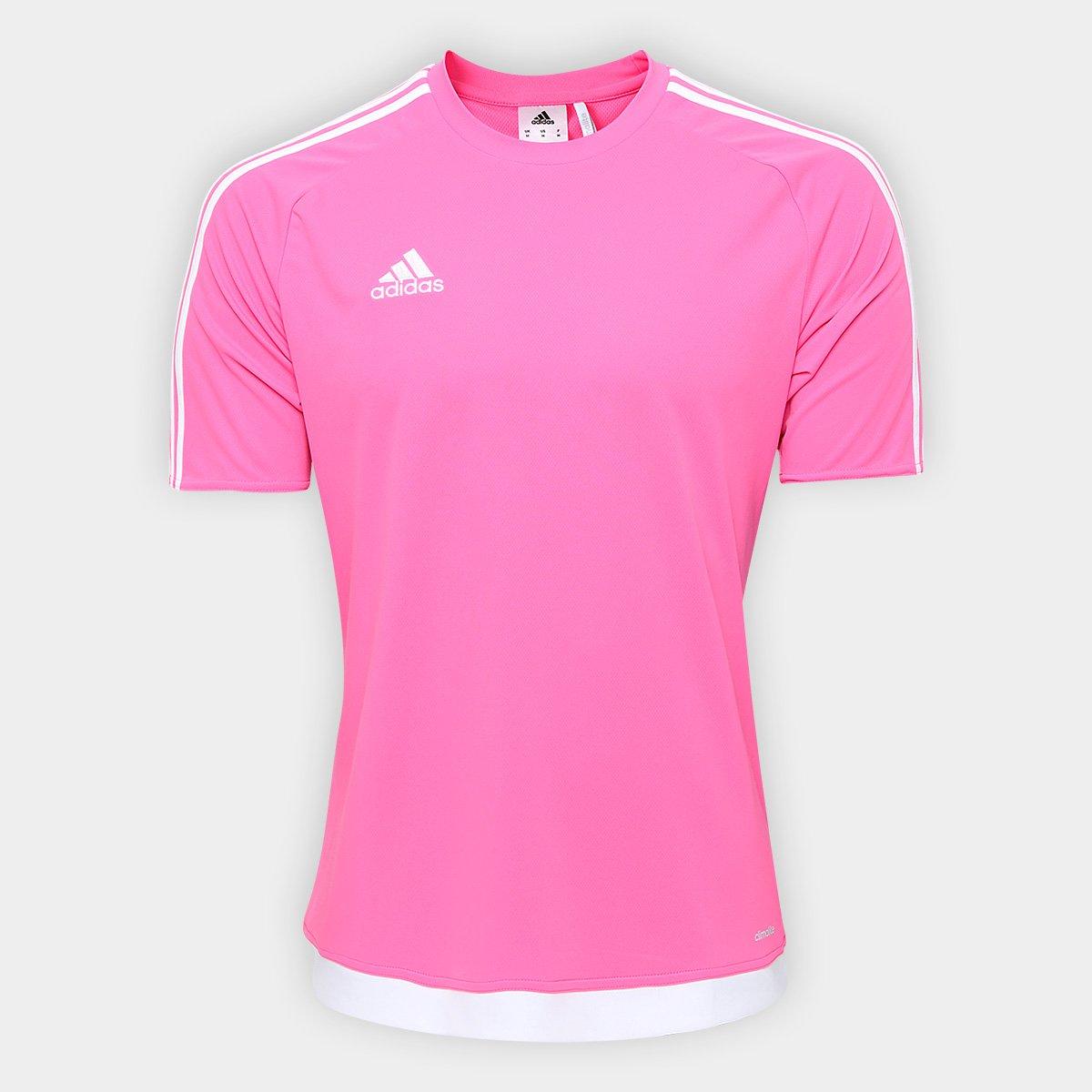 531a3e4462b Camisa Adidas Estro 15 Masculina - Rosa e Branco - Compre Agora ...