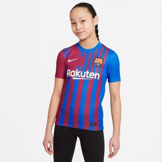 Camisa Barcelona Juvenil Home 21/22 s/n° Torcedor Nike