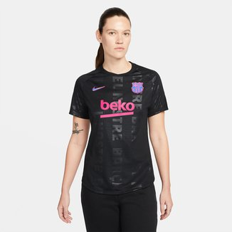Camisa Barcelona Pré Jogo 21/22 Nike Champions League Feminina
