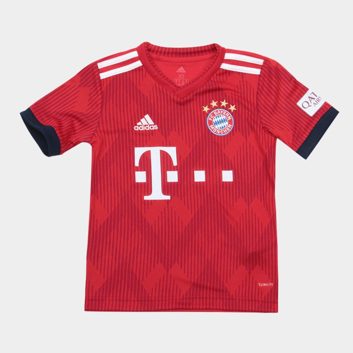 7bbc58f2e5ff0 Camisa Bayern de Munique Infantil Home 2018 s n° - Torcedor Adidas -  Vermelho e Branco - Compre Agora