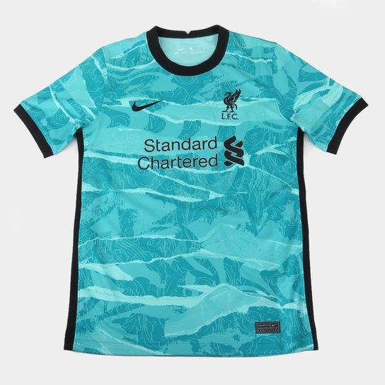 Camisa Liverpool Infantil Away 20 21 S N Torcedor Nike Azul Turquesa E Preto Allianz Parque Shop