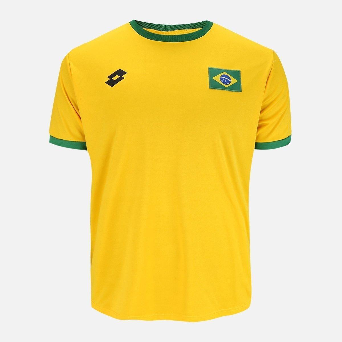 521df8348b Camisa Lotto Brasil Masculina - Amarelo e Verde - Compre Agora ...