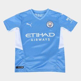 Camisa Manchester City Juvenil Home 21/22 s/n° Torcedor Puma