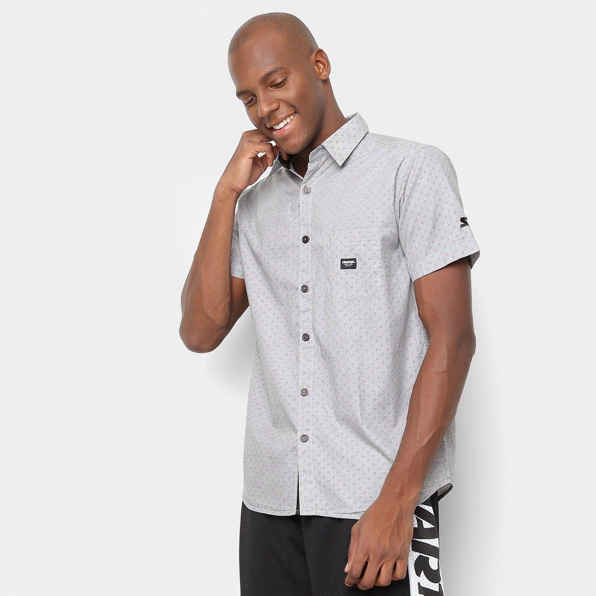 452d86cd2c0054 Camisa Manga Curta Starter Black Label Poá Masculina - Cinza ...