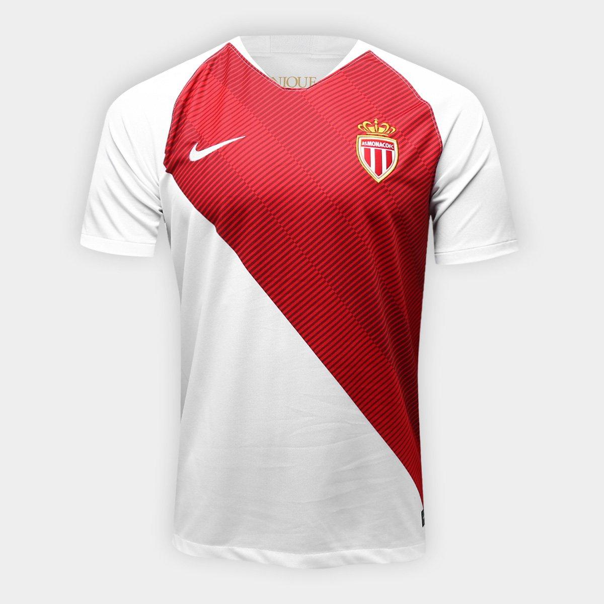 Camisa Monaco Home 2018 s n° - Torcedor Nike Masculina - Branco e ... 2326b538f6ca1