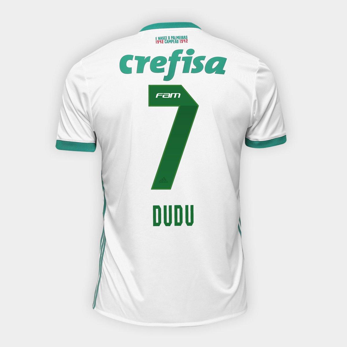 ebbffcf5f8 Camisa Palmeiras II 17/18 nº 7 Dudu Torcedor Adidas Masculina - Branco e  Verde | Allianz Parque Shop
