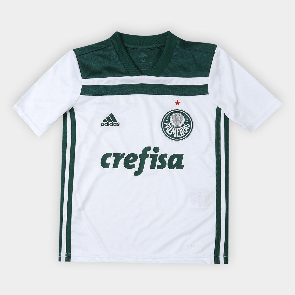 Camisa Palmeiras Infantil II 2018 s n° Torcedor Adidas - Branco e ... aca25056e3625