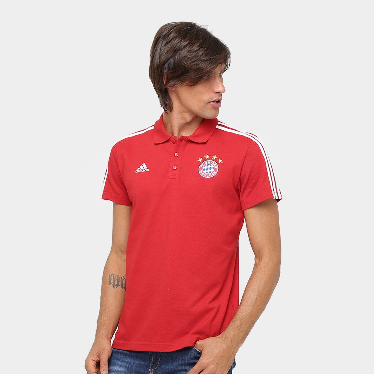Camisa Polo Bayern de Munique Adidas 3S Masculina - Compre Agora ... b3b8ccae99cd9