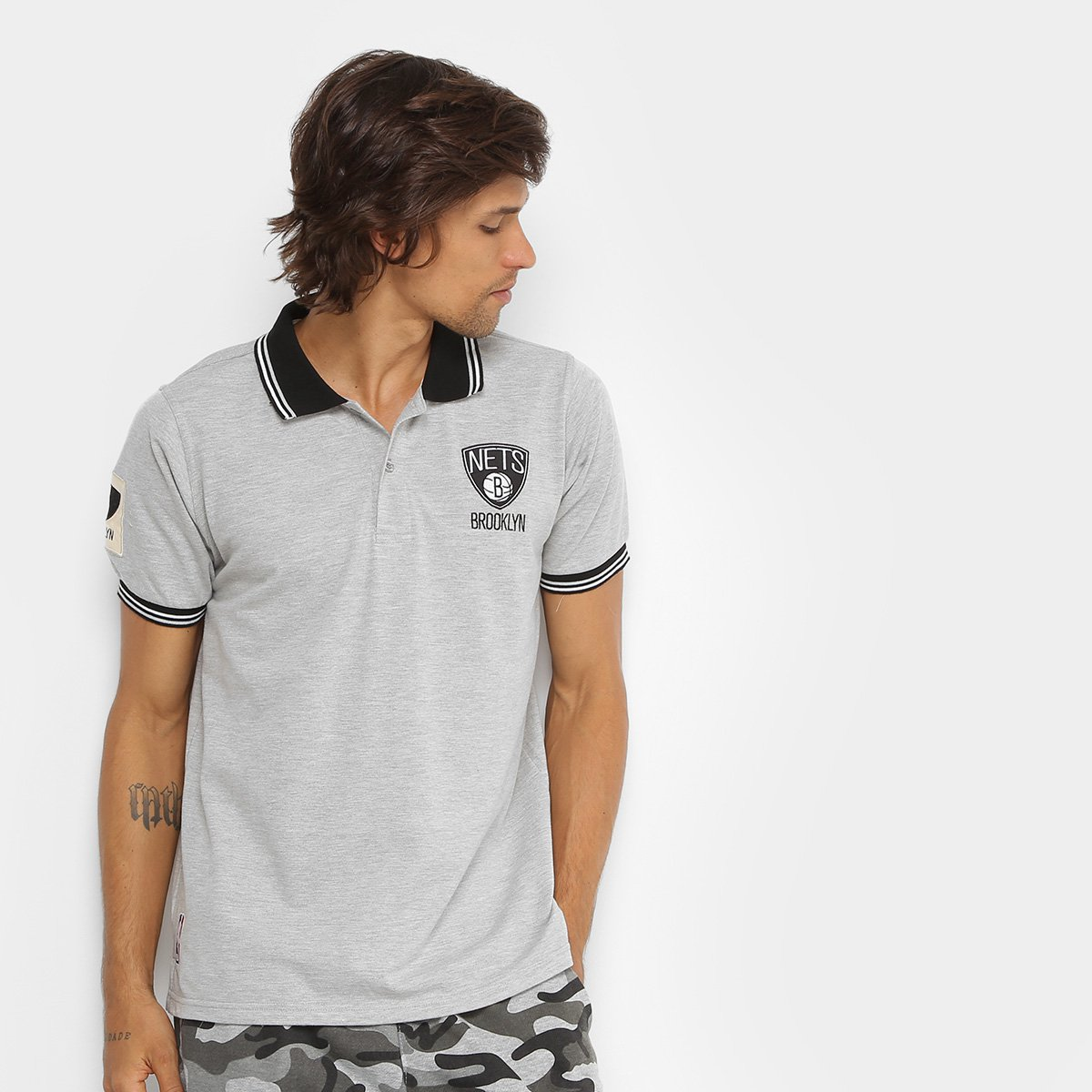 a39580629f Camisa Polo NBA Brooklyn Nets 17 Masculina - Mescla | Allianz Parque Shop