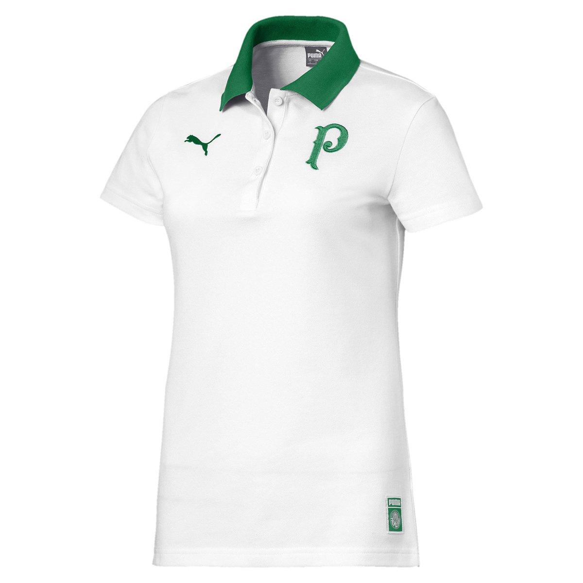 ae3f936c0eaf6 Camisa Polo Palmeiras 19 20 Puma Feminina - Branco e Verde - Compre Agora