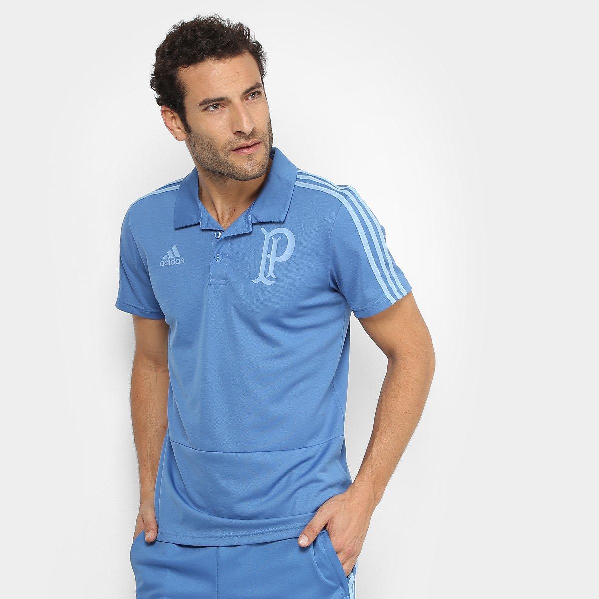 ddfb321009 Camisa Polo Palmeiras Adidas Viagem Masculina - Azul