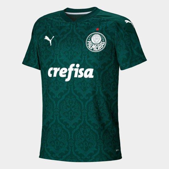 Camisa Puma Palmeiras Infantil I 20/21 Masculina - Verde+Marrom