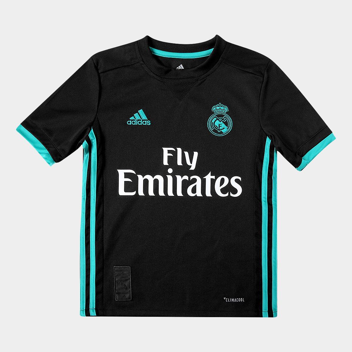 4e119eda0 Camisa Real Madrid Infantil Away 17 18 s nº Torcedor Adidas - Preto -  Compre Agora
