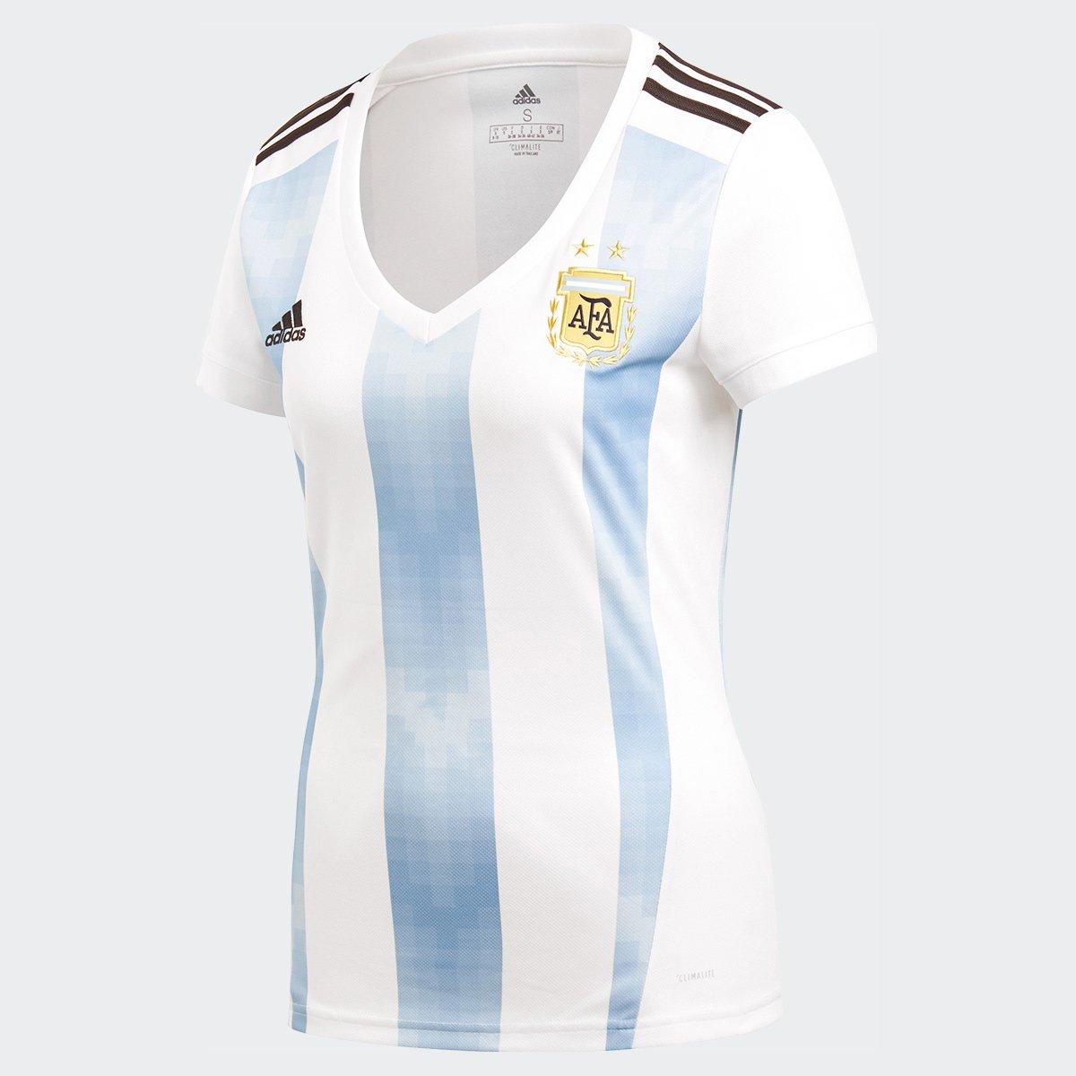 59f3bd7f7a840 Camisa Seleção Argentina Home 2018 s/n° Torcedor Adidas Feminina - Branco e  Azul Claro | Allianz Parque Shop