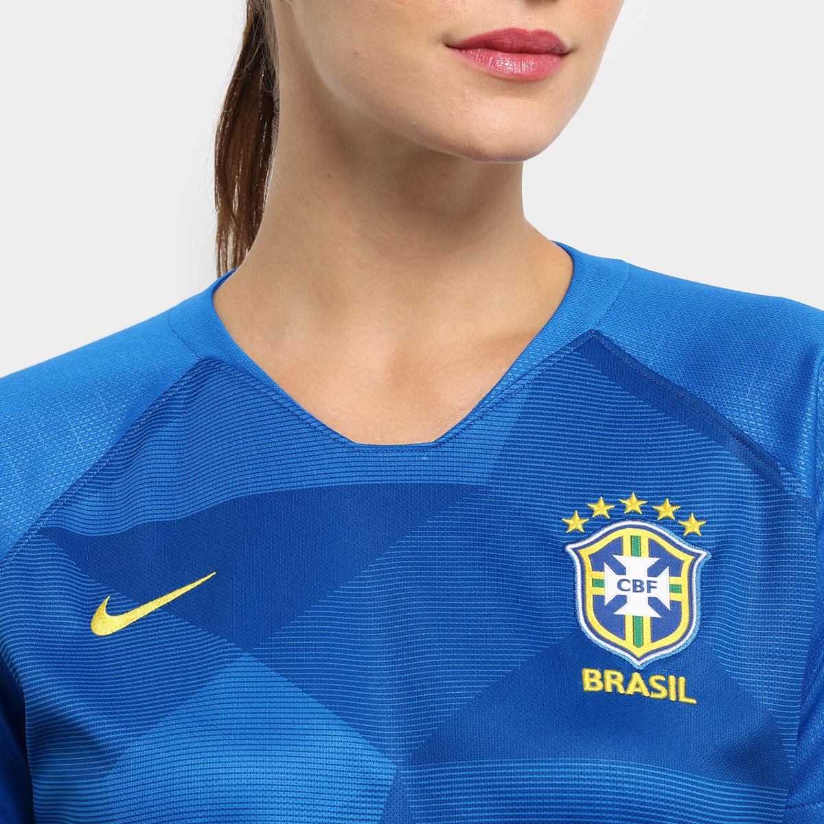 bd77fc24cb CAMISA MANGA CURTA CBF M NK BRT STAD JSY undefinedLoading zoom ... Camisa  Seleção Brasil II 2018 s n° - Torcedor Nike Feminina .