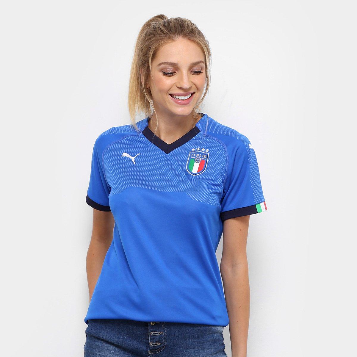 Camisa Seleção Itália Home 2018 s n° - Torcedor Puma Feminina - Azul ... cef065123dd57
