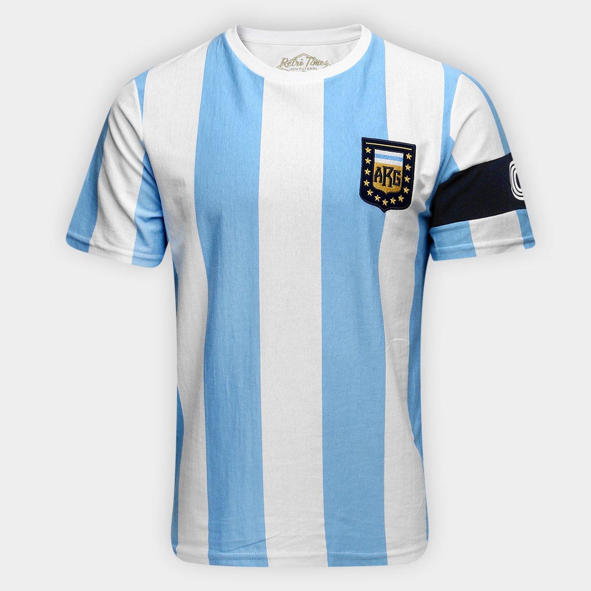 03a0328e63 Camiseta Argentina Capitães 1986 Retrô Times Masculina - Compre ...