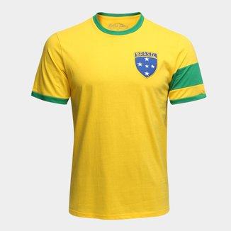 Camiseta Brasil Capitães 1970 Retrô Times Masculina