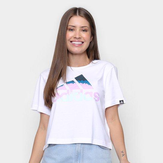 Camiseta Cropped Adidas Farm Rio Tie Die Feminina - Branco+Azul Petróleo