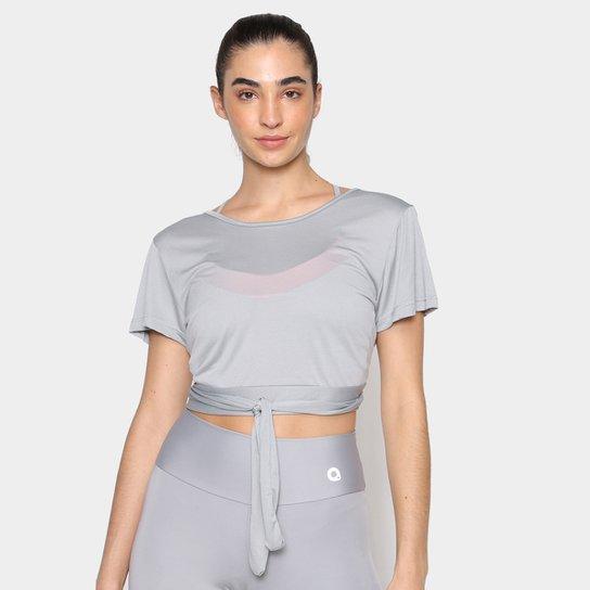 Camiseta Cropped Área Sports Plural Feminina - Cinza