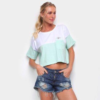 Camiseta Cropped Hang Loose Over Enjoy Feminina