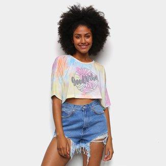 Camiseta Cropped Oversize Tricats Tie Dye Good Vibes Feminina