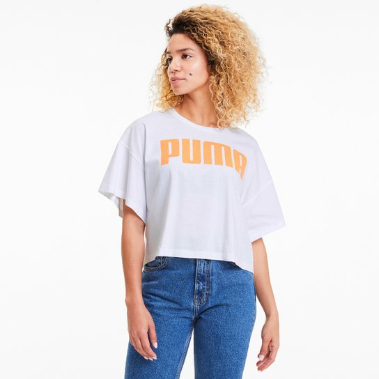 Camiseta Cropped Puma Rebel Fashion Feminina - Branco