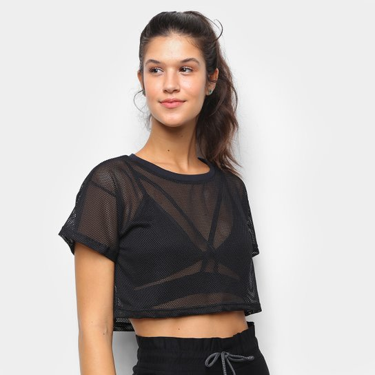 Camiseta Cropped Tricats Bykker Tela Feminina - Preto
