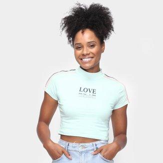 Camiseta Cropped Tricats Galões Love Feminina