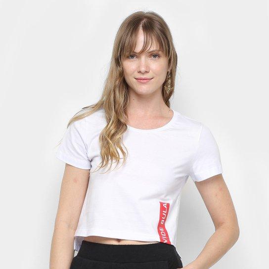 Camiseta Cropped Vide Bula Feminina - Branco