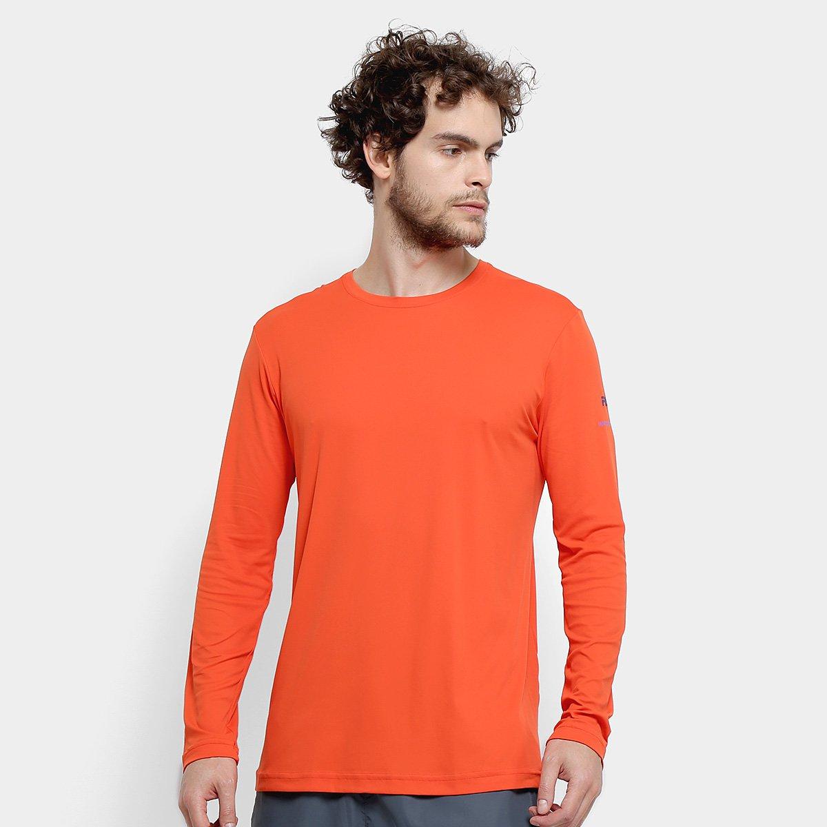 74c52f7f825eef Camiseta Manga Longa Fila Basic Com Proteção UV Masculina - Laranja e  Marinho | Allianz Parque Shop