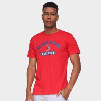 Camiseta MLB Boston Red Sox New Era College Rounded Masculina