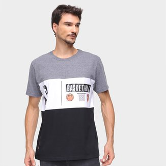 Camiseta NBA Color Block Cesta Masculina
