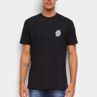 Camiseta NBA Portland Trail Blazers New Era Black Pack Logo Masculina